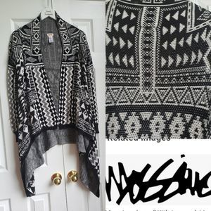 Mossimo Aztec Small Black White Cardigan
